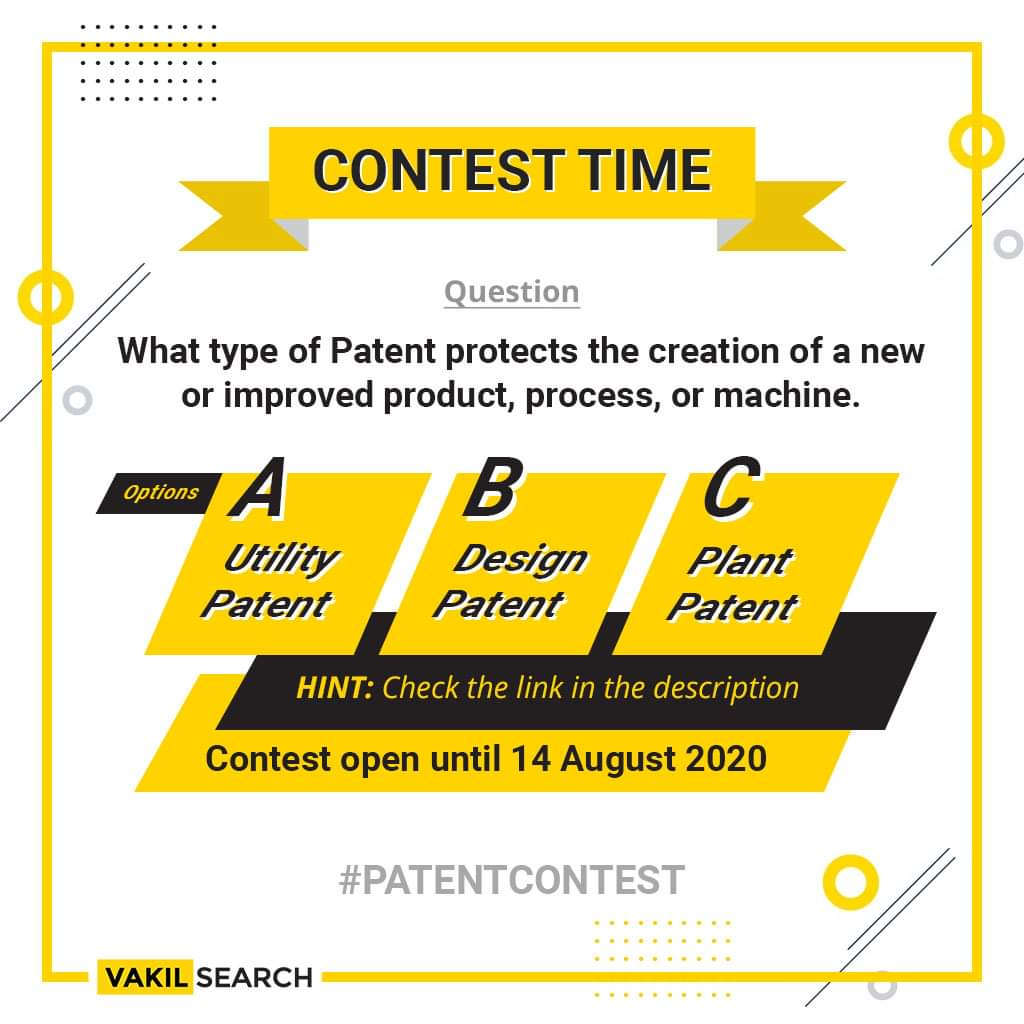 Hint:https://t.co/ynebg2u64s  1. LIKE & Retweet the post! 2. Comment the right answer tagging #Vakilsearch and #PATENTCONTEST 3. LIKE & FOLLOW us on Instagram - https://t.co/s9qvtT2EaK FaceBook - https://t.co/ofFBC8CNJO Twitter - https://t.co/IdfOwGSnrB 4. TAG any 3 FRIENDS https://t.co/oQUp0gtMGc