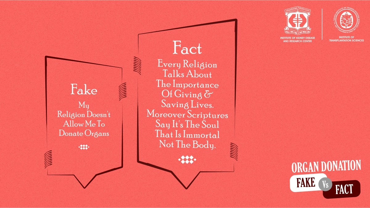 There are many #mthys prevalent when it comes to #organdonation and you should not let misinformation stop you from doing one of the noblest deeds you can do and leaving behind #yourgreatestlegacy.  #FakeVsFacts #MythBusted #FakeNews #Facts #IKDRCpic.twitter.com/dWSnAzGymO
