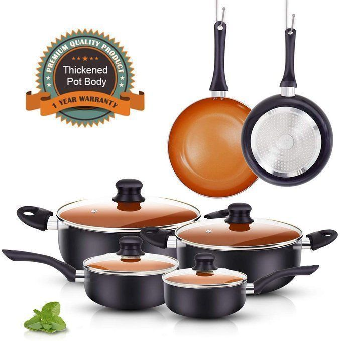 10 Piece Ceramic Nonstick Cookware Set, $42.99!!  Over 50% off with code; 50PYF6F7