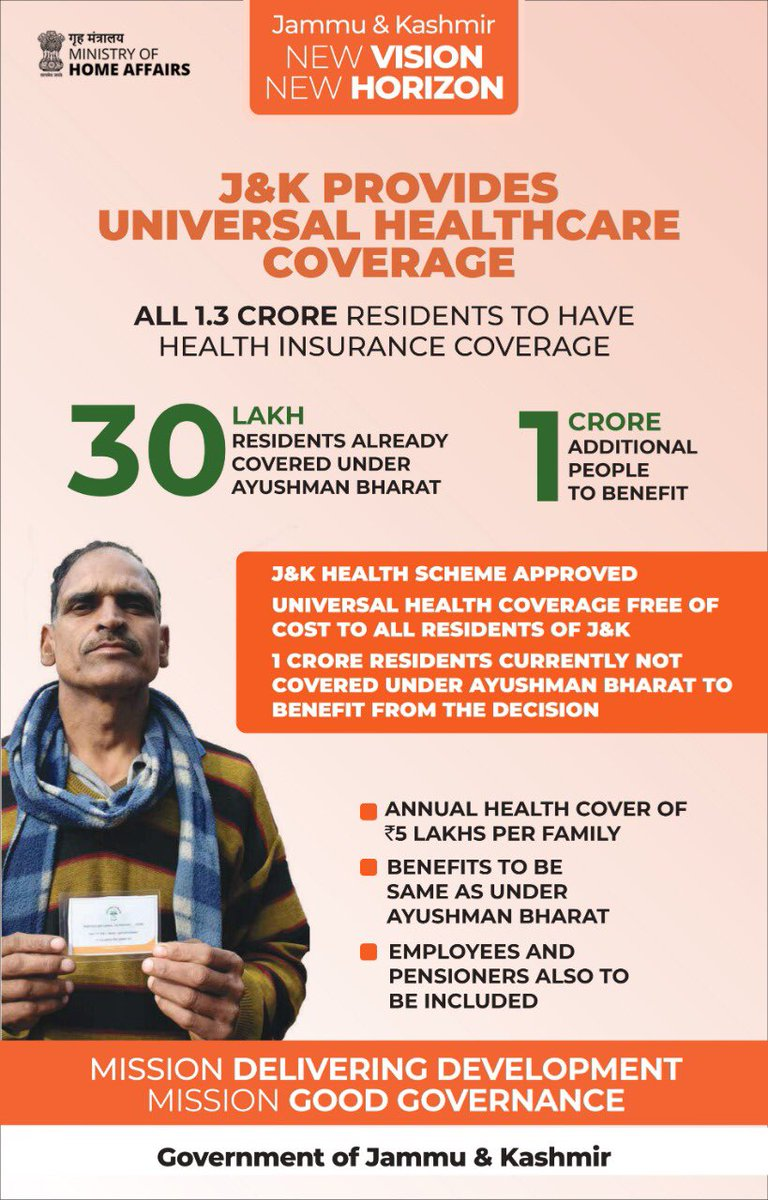 Ayushman Bharat has been extended to provide Universal Health Coverage free of cost to all residents of J&K. Earlier 30 lakh residents were covered under Ayushman Bharat, now 1 crore more people will be benefited from this. #OneYearOfDevelopment https://t.co/0JLRtjm1hd
