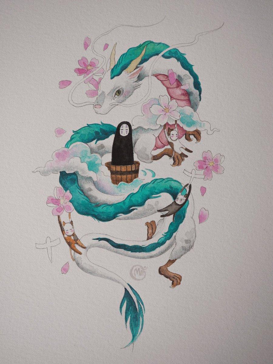 #ghibli #cartoon #hakudragon #fortattoo #designfortattoo #watercolor #customdesign #kaonashi #thanks #pointinkerpic.twitter.com/E9rqdzUtcb