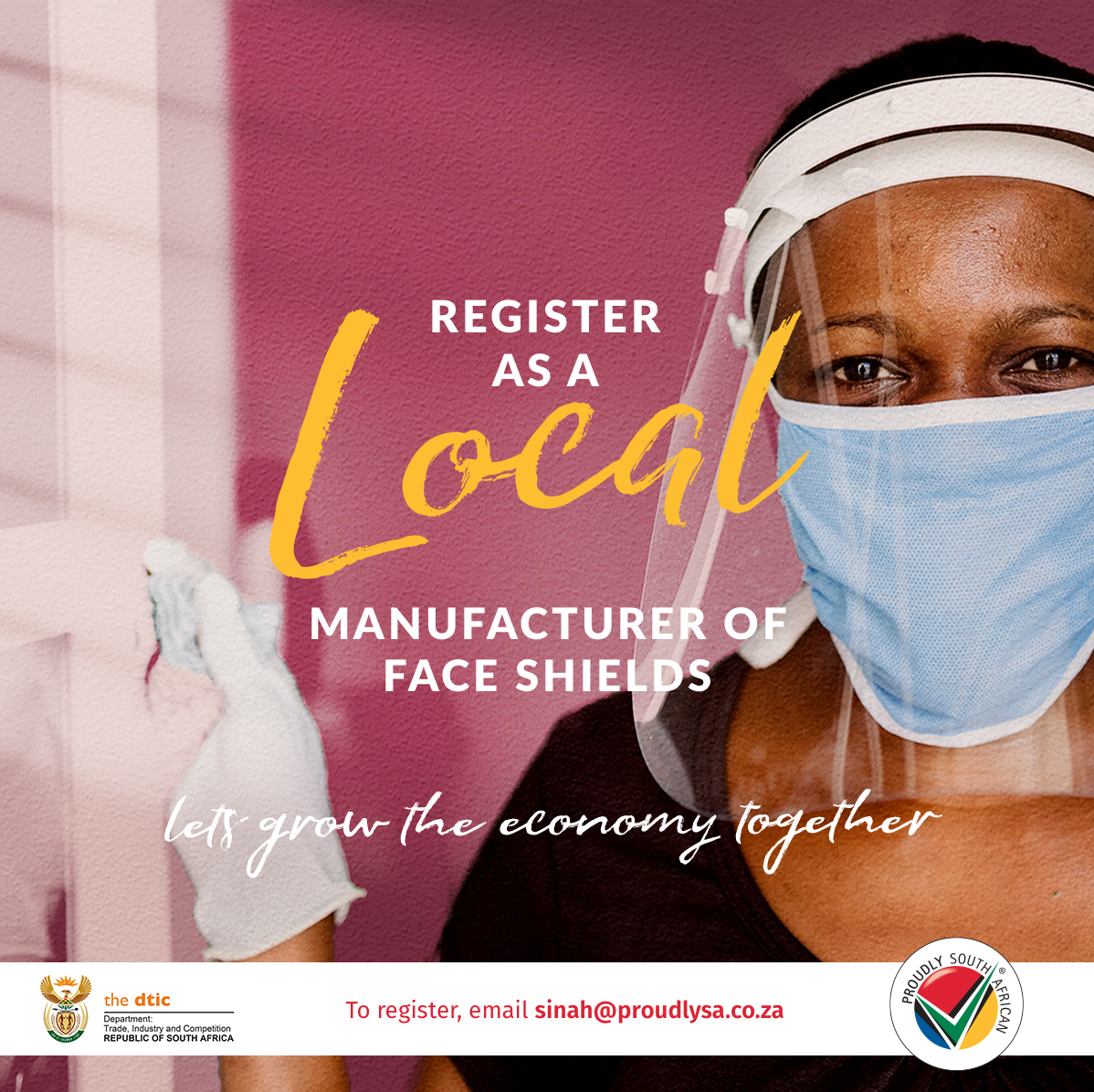 Proudly SA is calling on all local manufacturers of face shields to list as a supplier on our dedicated PPE portal, where buyers can source compliant, approved, locally manufactured face shields/ visors. Register via https://t.co/GxC6OWX34h #BuyLocalToCreateJobs  #BuySouthAfrican https://t.co/O2Nj1LUpU4