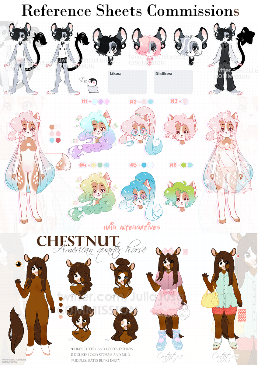 Reference sheet commission OPEN Price - 85$ Includes: 1 Full body, 6 headshots, 1 outfit, palette, info  Add-ons: Custom design + 25$ Hairstyle list  - 50$  Back view  + 25$  Outfit + 15$  Headshot - 10$ Eyes\hands\ feet close ups + 20$ Pet  + 15$ pic.twitter.com/y8FCW67db4