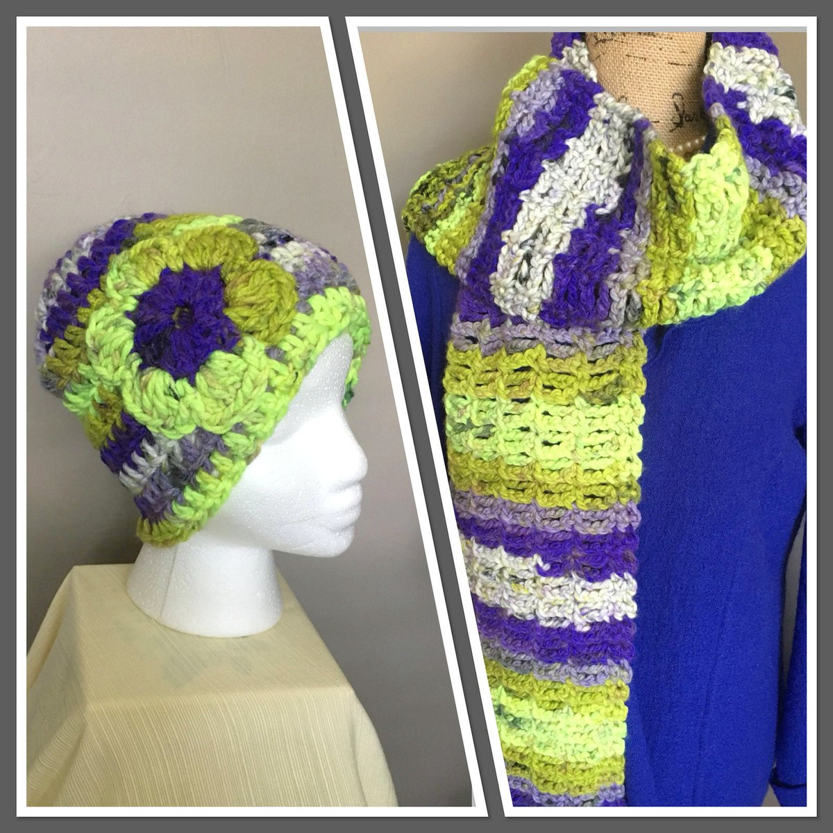 http://ChestnutCrochetShop.etsy.com  Excited to share this from my #etsy shop: Multi Color Crochet Hat and Scarf Set, Flower Hat and Scarf Set, Chunky Wool Scarf and Hat Set, Back to School, Gift for Her,  https://etsy.me/2DtydWv #purple #green #preppy #multicolorscarfpic.twitter.com/U4MyPQ7Yzw
