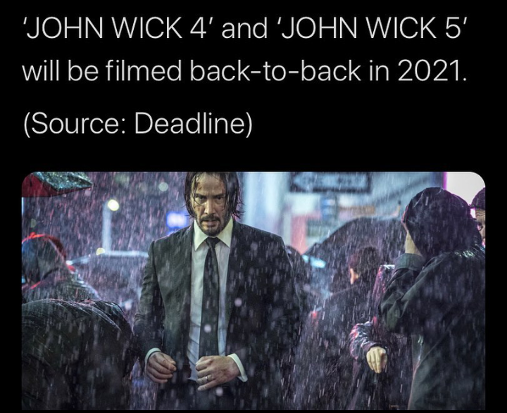 People keep asking if he's back and I haven't really had an answer.. but now yeah I'm thinking he's back. #JohnWick5 #Lionsgate #KeanuReeves pic.twitter.com/rK2ojplneX