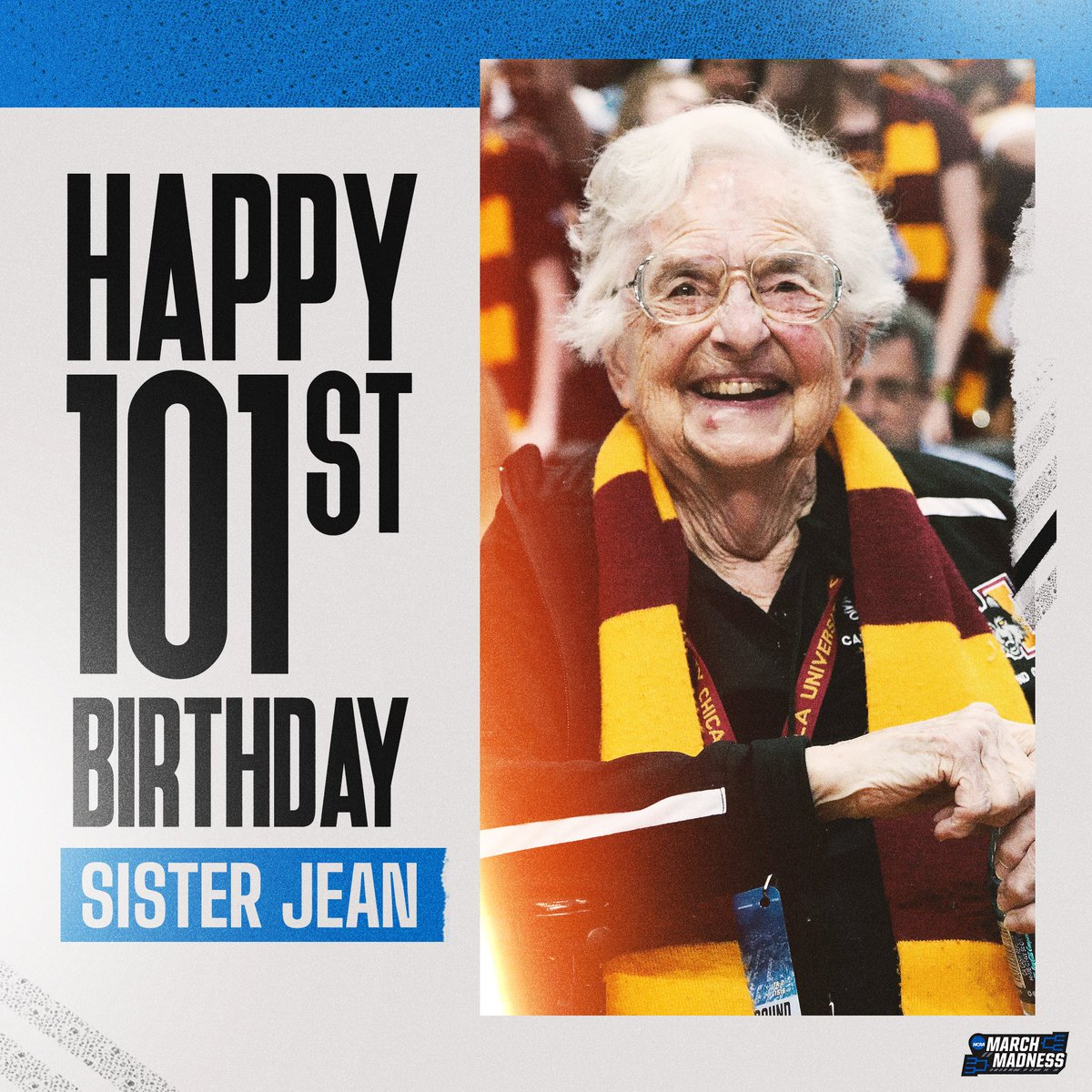 A #MarchMadness legend turns 1️⃣0️⃣1️⃣ today!  RT to wish #SisterJean a Happy Birthday! 🎂 https://t.co/sOH7jlTmYV