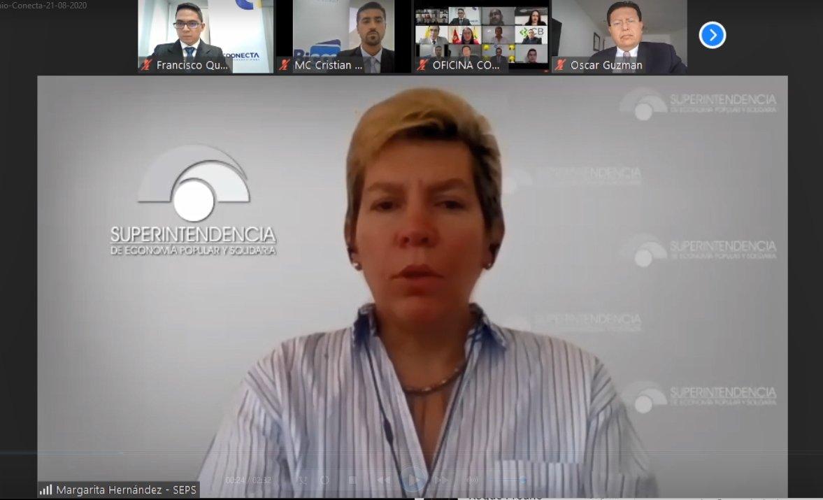 """Margarita Hernández, superintendente de la @seps_ec, participa en el evento digital """"Un Ecosistema Integral y sus Oportunidades"""", en el marco de la firma del convenio entre @CoonectaEC y @UCACSUR. https://t.co/SgN3peTxdy"""