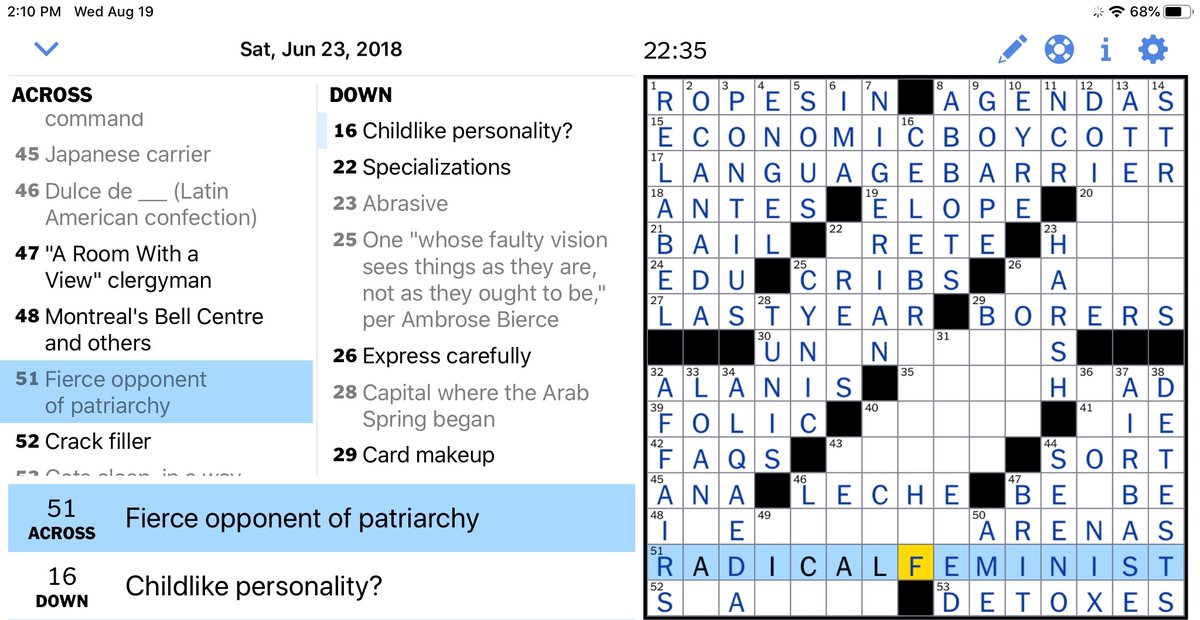 Henry Schulman On Twitter What A Stupid Insulting Clue From His 2018 Nytimes Crossword Puzzle You Don T Have To Be A Radical Feminist To Oppose A Patriarchy Https T Co Rddfuemxqe