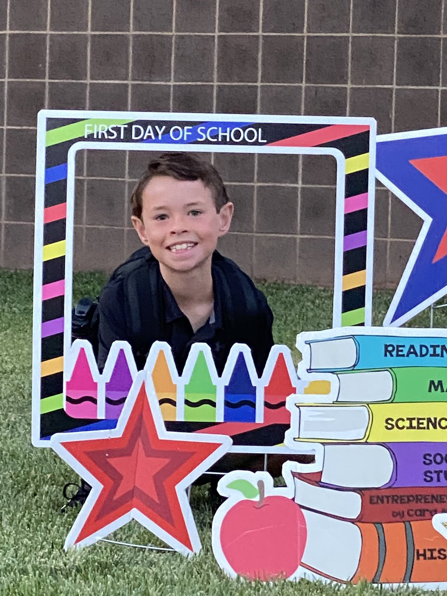 It was a great first day of school for this guy! 4th grade is cool! 😎 #WeLeadTX @Crestview2 #CISDrocks
