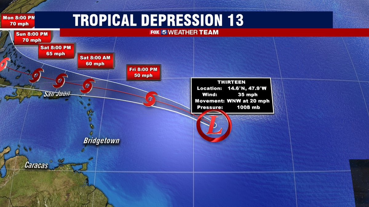 Sue Palka Fox 5 Dc On Twitter Our 13th Tropical Depression Of The Busy 2020 Atlantic Hurricane Season Has Formed Long Term Track Uncertain As It May Track Over Greater Antilles But Bahamas
