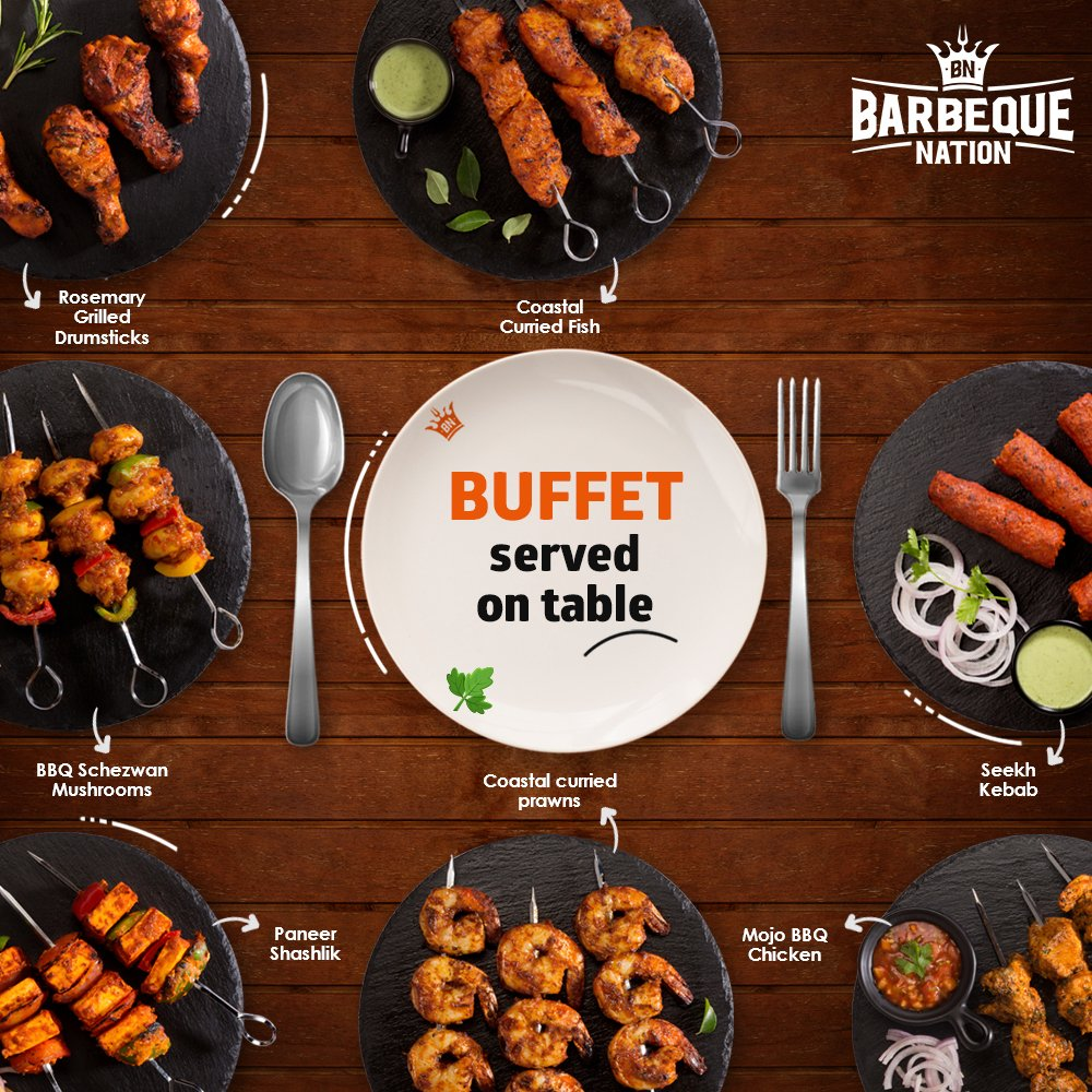 Enjoy Barbeque Nation's new way to dine-in, get unlimited food served on the table. Reserve your table now - https://t.co/dEuTUYoWpP https://t.co/yE7XIWjTUX
