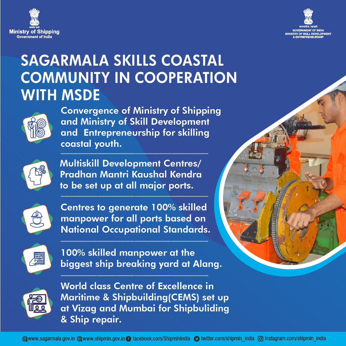 To reap the benefit for vast employment opportunities in maritime sector and with a view to certify their skill sets, MoU was signed digitally between Ministry of Shipping and @MSDESkillIndia today.  For More Details: https://t.co/oBD3MyB0BM https://t.co/HIqG3D4mTN