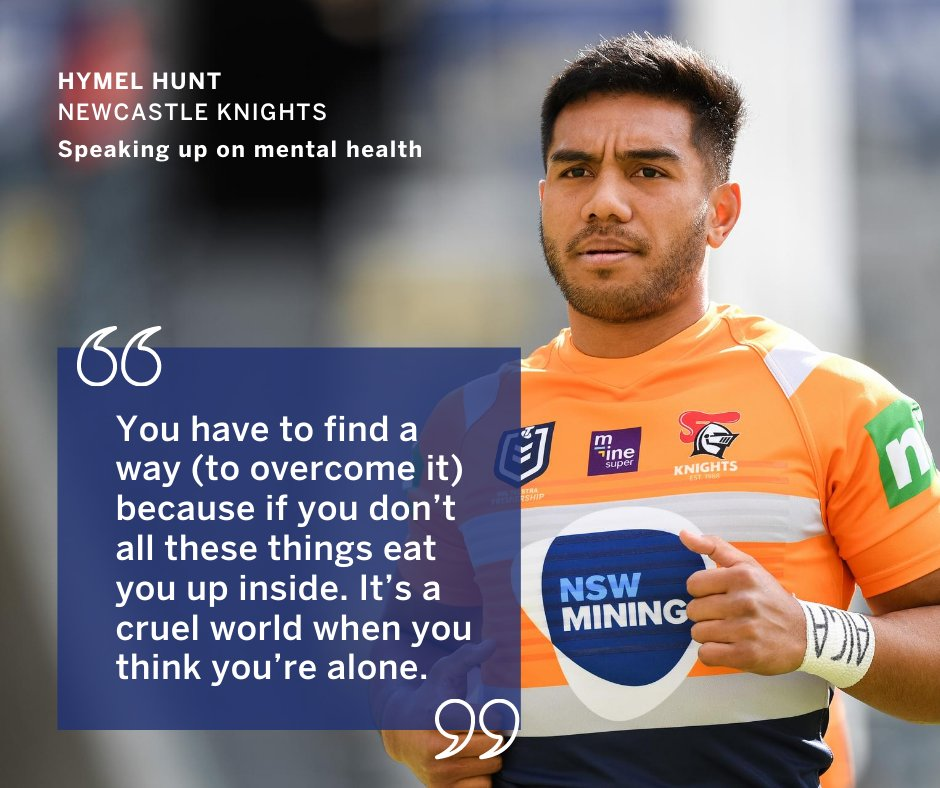 Shout out to Hymel Hunt from @NRLKnights for speaking up on #mentalhealth.  It's a challenging time, and Hymel hasn't been able to his family for months.   Talking about it and using his platform in a positive way is a really awesome thing to do.   #nswmining https://t.co/nxrVwbWwaj