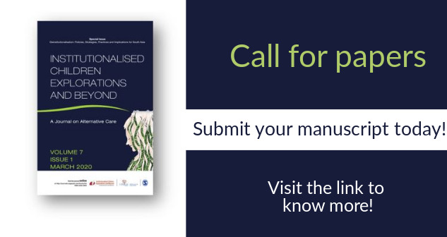Contribute your research to the journal, 'Institutionalised Children Explorations and Beyond'. For more details and to submit your manuscript, visit https://t.co/AAEdnibcEK  #SAGEJournals #Deinstitutionalisation #Policies #SocialPolicies #ICBjournal #SouthAsia  #callforpapers https://t.co/XHdkO9AkGO