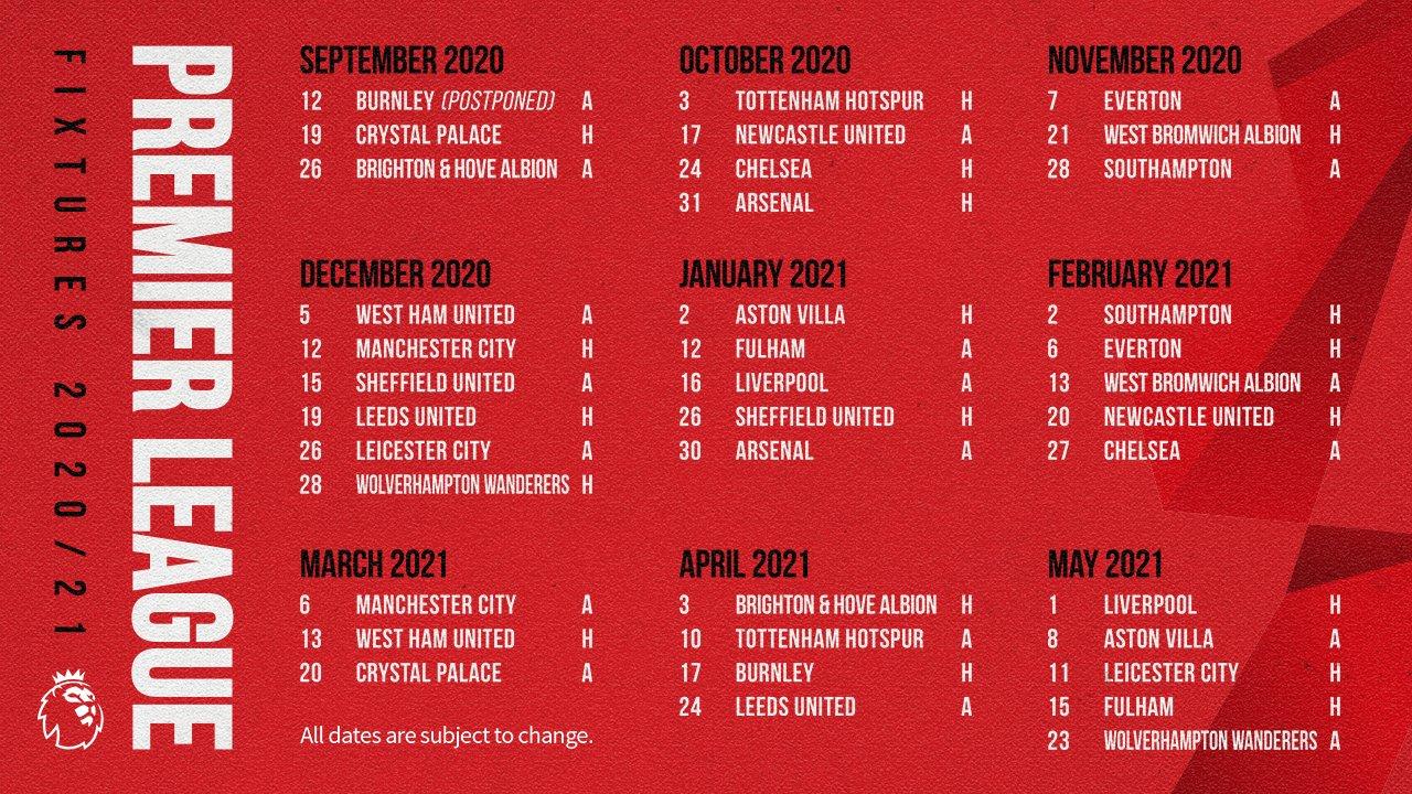 Manchester United On Twitter United S 2020 21 Pl Fixture List Н™žð™£ Н™›ð™ªð™¡ð™¡ Mufc