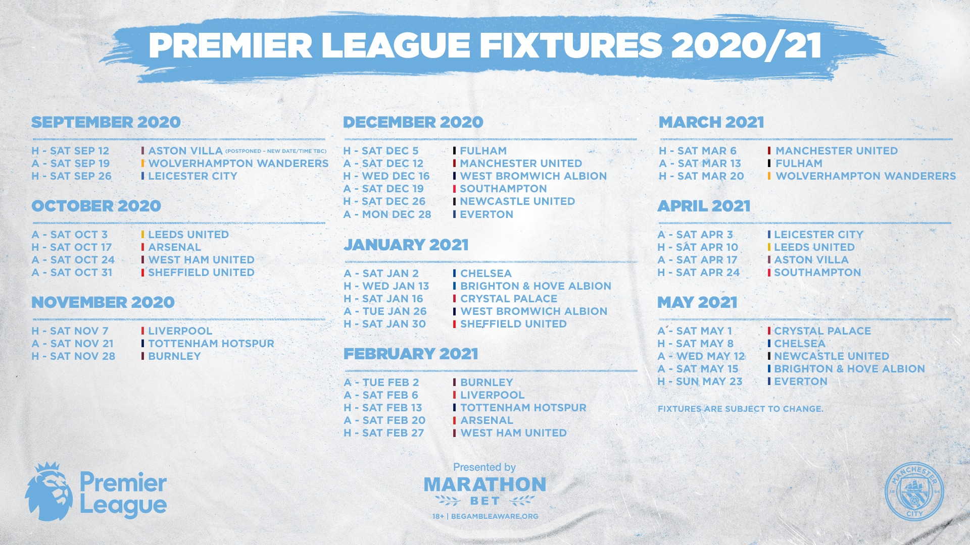 Manchester City On Twitter Our 2020 21 Premierleague Fixtures In Full Which Game Do You Look For First Marathonbet Mancity Https T Co Axa0kld5re Https T Co Psgmfappfg