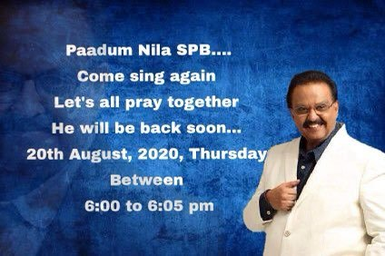 Let's pray for the speedy recovery of legendary singer SPB. Be a part of mass prayers on 20 August, 6 pm from ur respective places. Let's make sure that his voice is heard again  #GetWellSoonSPBSIR  @offBharathiraja https://t.co/cm5AdQBOLB