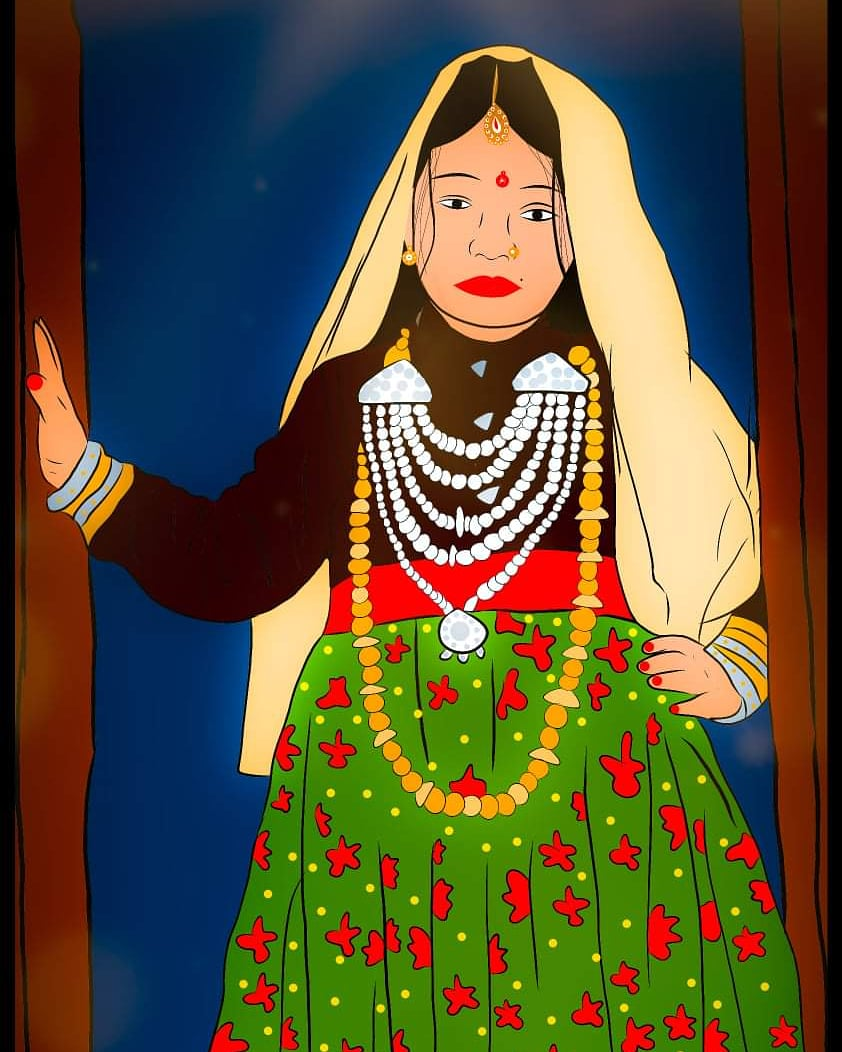 Can you identify which region's attire is this? . Artwork by Sneha Bisht . #uttarakhand #garhwal #kumaon https://t.co/ozWgmk7iip