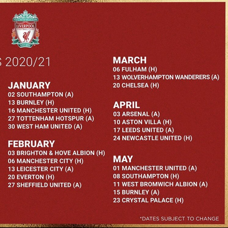 lfc round up on twitter liverpool fc fixtures 2020 21 liverpool fc fixtures 2020