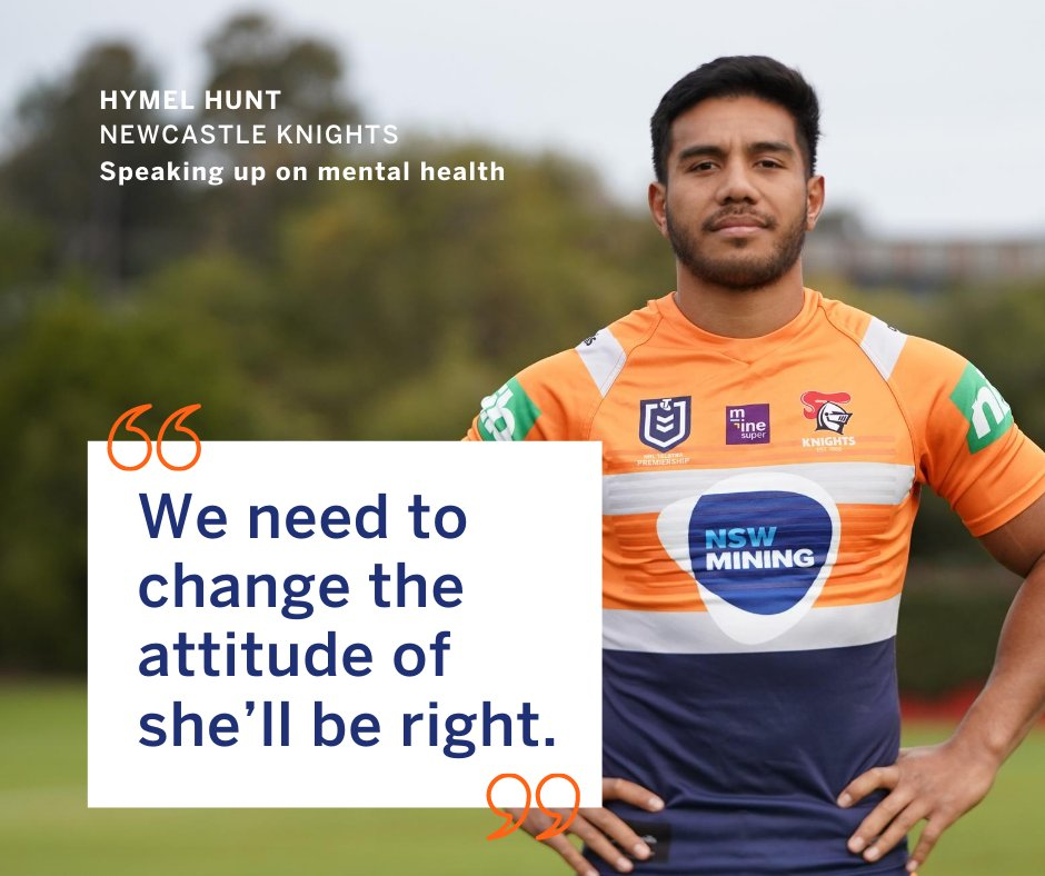 Calling for change: Hymel Hunt from @NRLKnights has spoken up on the mental health challenges people are facing.  Instead of saying it'll be alright, think of this as a reminder to talk to someone if you're having a tough time.   #mentalhealth #nswmining #nrl #newcastleknights https://t.co/4X04kmsQez