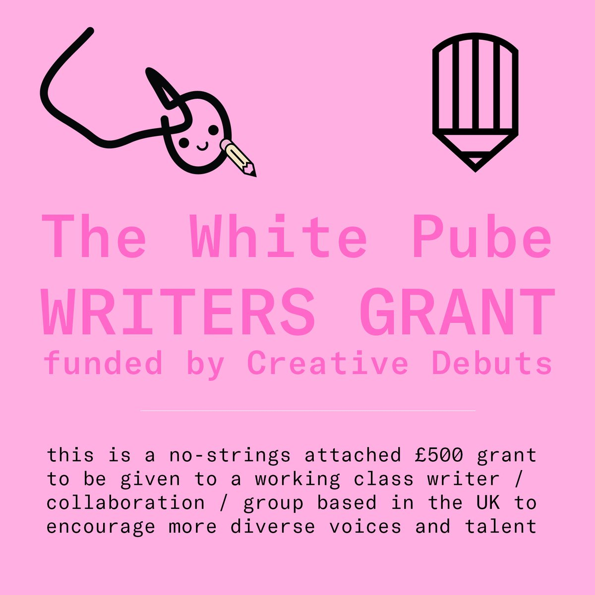 ANNOUNCING The White Pube Writers Grant funded by @CreativeDebuts, a £500 no-strings attached grant to be given out monthly to a working class writer based in the UK (could also be a writing collab or group, not just individuals) ✏️ info here: thewhitepube.com/writersgrant!!!!!!!