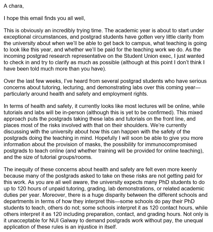 Sent out an email to all Postgraduates at NUIG this morning about health and safety and employment rights.  It's quite a read, but please share as widely as possible to reach any PGs who didn't get the email https://t.co/2B2Av9HAX2