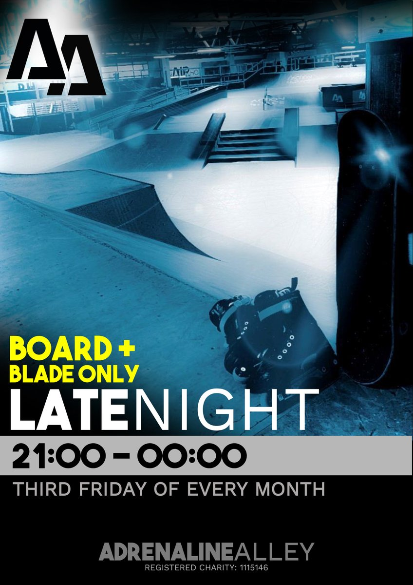TOMORROW is our new BOARD & BLADE ONLY late night session! 🔥Skateboarders and inliners… The park is yours to take over and shred till midnight!🔥  Strictly no bikes or scooters.  BOOK NOW! ➡️ https://t.co/cP02JO5bdW ⬅️ https://t.co/mspBdGCJ4e