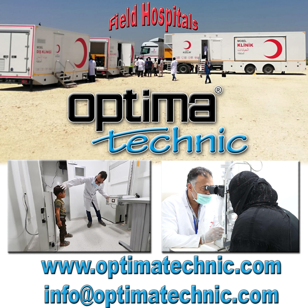 Optima Technic designing and manufacturing Trailer & Ground Based Field Hospitals. Capacities can be with 10 beds, 20 beds, 50 beds, 100 beds or more. All products manufacturing as hospital standards.  #mobileclinics #mobilehospitals #fieldhospitals #madeinturkey #covid19 https://t.co/wD25Z8YX9d