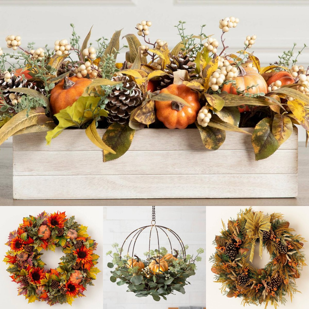 Balsam Hill On Twitter New Colors To Celebrate This Fall Https T Co Ln7jbdlgm3 Balsamhill Fall Top Autumn Abundance Centerpiece L R Sunflower Pumpkin Wreath Eucalyptus Pumpkin Hanging Basket Golden Fields Wreath Https T Co