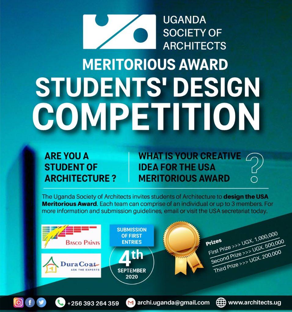 Are you an Architecture student with creative ideas? #studentdesigncompetition.                #meritoriousaward @JacintaKabs @kaigu55 @ArchSsinab @UIA_Architects @KKCONSULTINGAR1 @IAZimbabwe @architectandre @Arch_KE @ArchDaily @ARBUganda @ArchForumUganda @AUA_UAA @ASA_IUEA https://t.co/eWXFwhT2LU