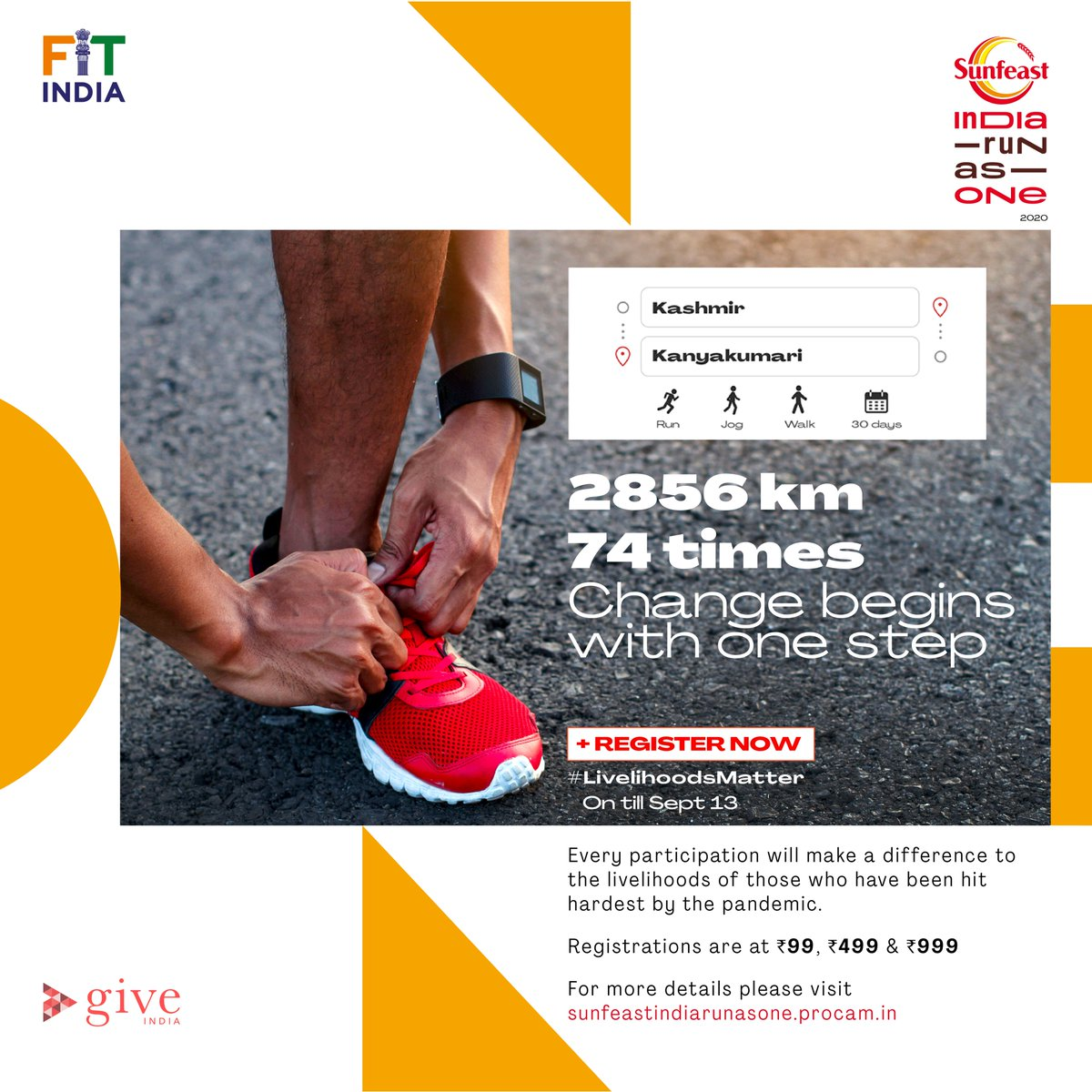 One step is all it takes to #MoveForGood towards a healthier, fitter and happier India!  Join @Indiarunasone - India's largest movement in support of livelihoods lost due to the pandemic and make your run count. Register Now!  #LivelihoodsMatter #Run4India