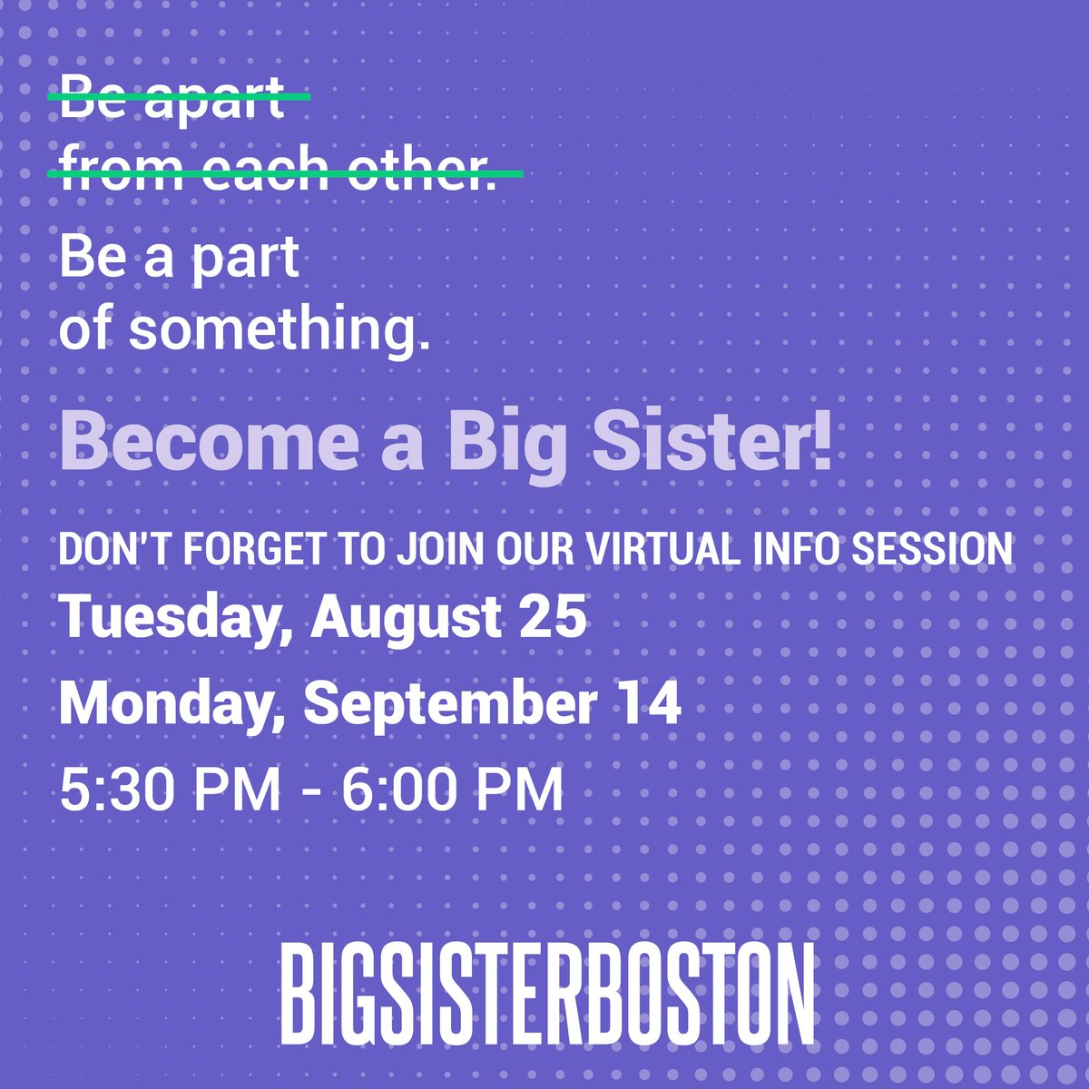Think you can't be a Big Sister while social distancing? Think again! Join us on 8/25 or 9/14 at 5:30 PM to learn how you can ignite the passion and power of young girls in the Greater Boston area, virtually! Register at:https://t.co/foijBtj2YO https://t.co/5B059QJ9UV