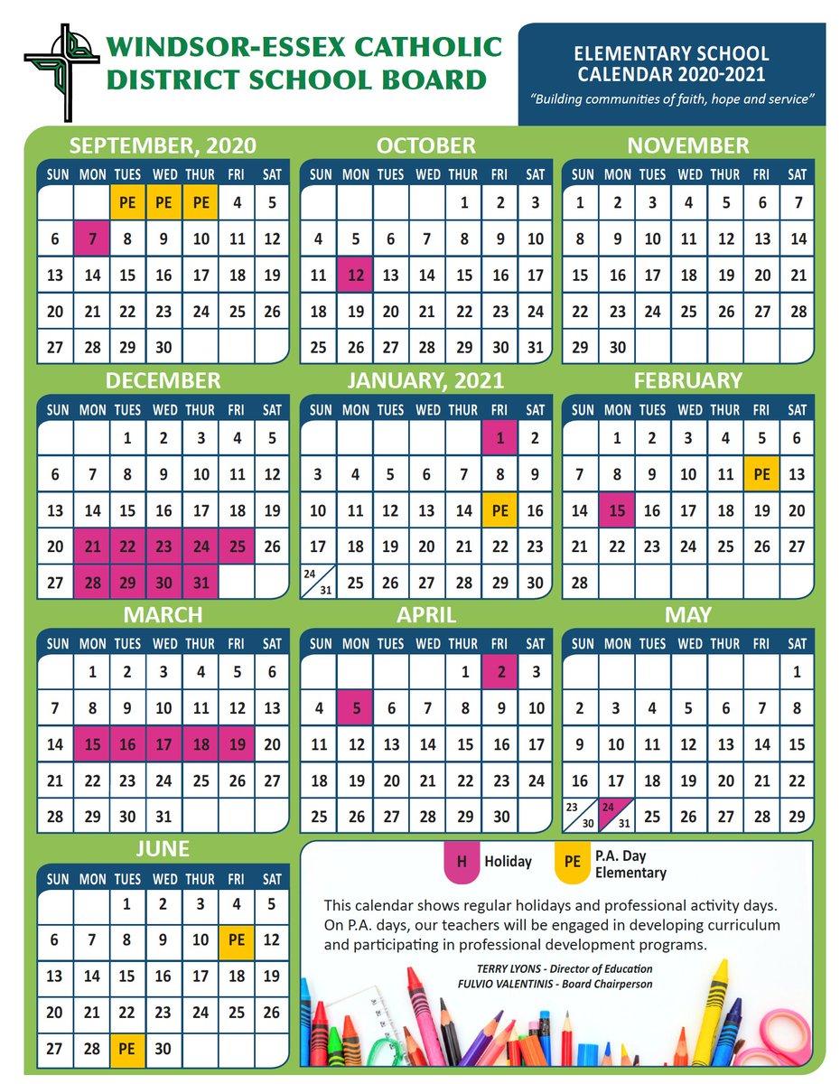 Photos of Windsor School Calendar 2021