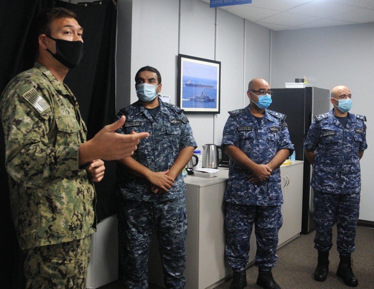 .@IMSC_Sentinel hosted three @BDF_Bahrain warship captains who diligently serve the CTF Sentinel mission commanding Sentry ships. Patrolling the Arabian Gulf is critical to #GulfSecurity and #FreedomOfNavigation. 🇦🇱🇦🇺🇧🇭🇸🇦🇱🇹🇦🇪🇬🇧🇺🇸