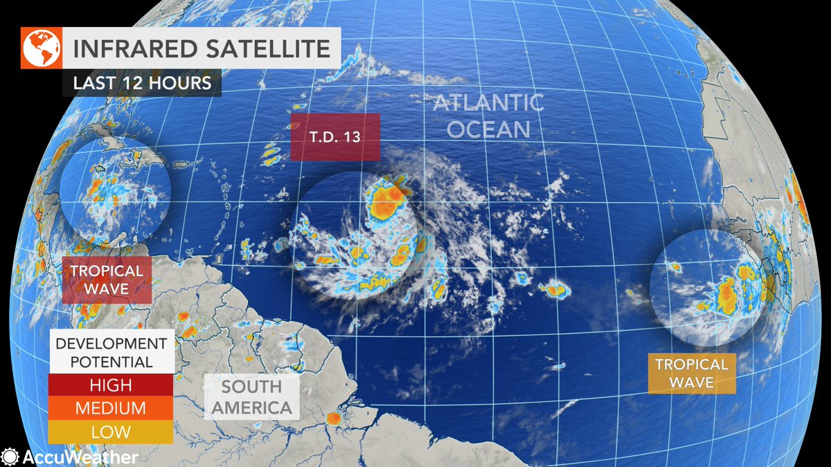 Accuweather On Twitter Tropical Depression 13 Is The Newest Tropical System In The Atlantic Ocean But Accuweather Meteorologists Are Monitoring 2 Other Areas That Could Also Develop In The Coming Days Https T Co Xcfqkivjry