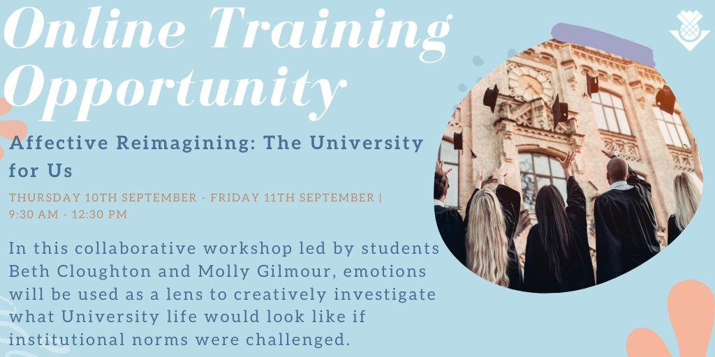 Interested in University structure? Join students Beth Cloughton (@b_researcher) & Molly Gilmour (@MVGilmour) in their workshop to creatively investigate what University life would look like if institutional norms were challenged. More info here 👉https://t.co/9nTWBRyK11 #phdchat https://t.co/4d1OKAbRpD