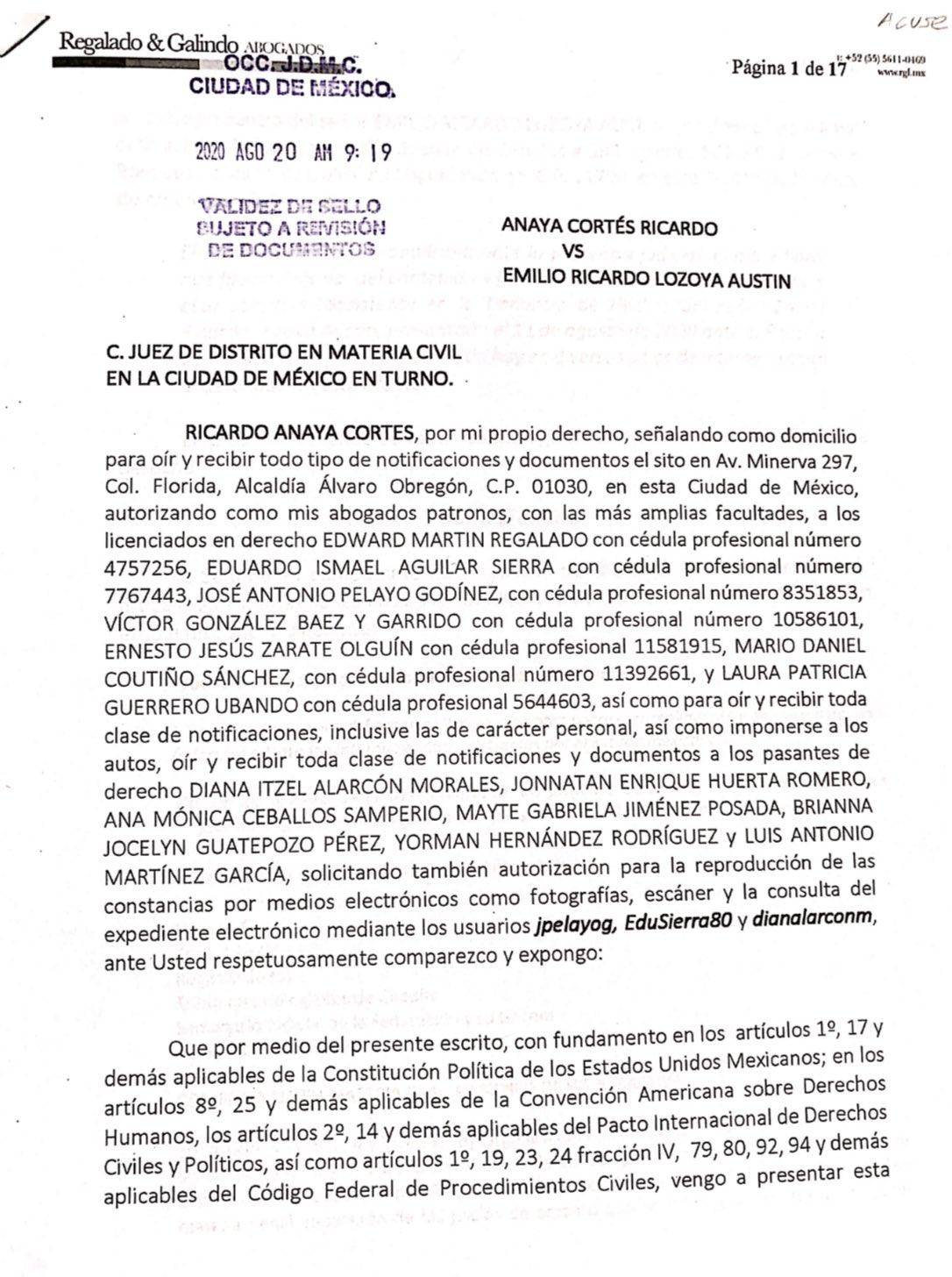 Ricardo Anaya denuncia a Emilio Lozoya y ya inició la investigación en su contra