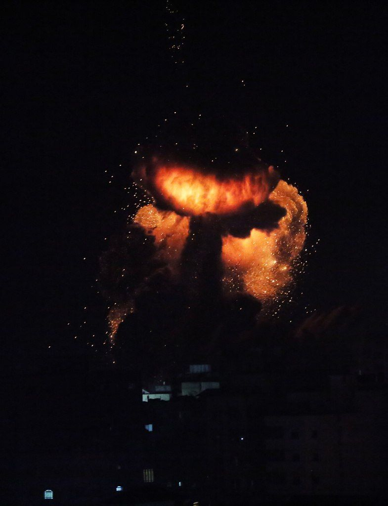 BREAKING: Israeli airstrikes on Gaza now. #GazaUnderAttack