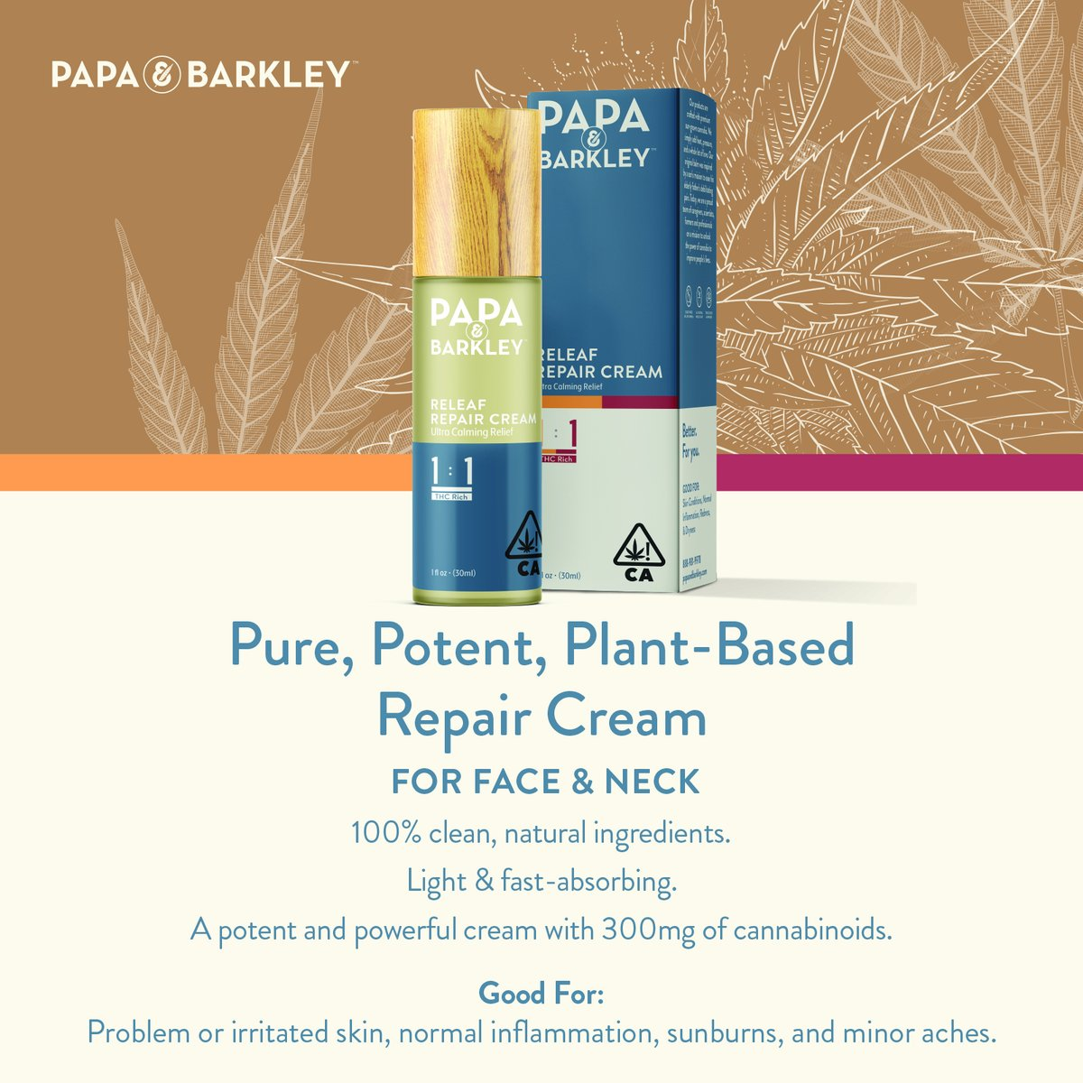 Today's the day! Papa & Barkley's new 1:1 Releaf Repair Cream is finally here! Our light, botanical cream is a therapeutic, fast-absorbing topical, ideal for your face and neck. https://t.co/0eyQVXOnNd