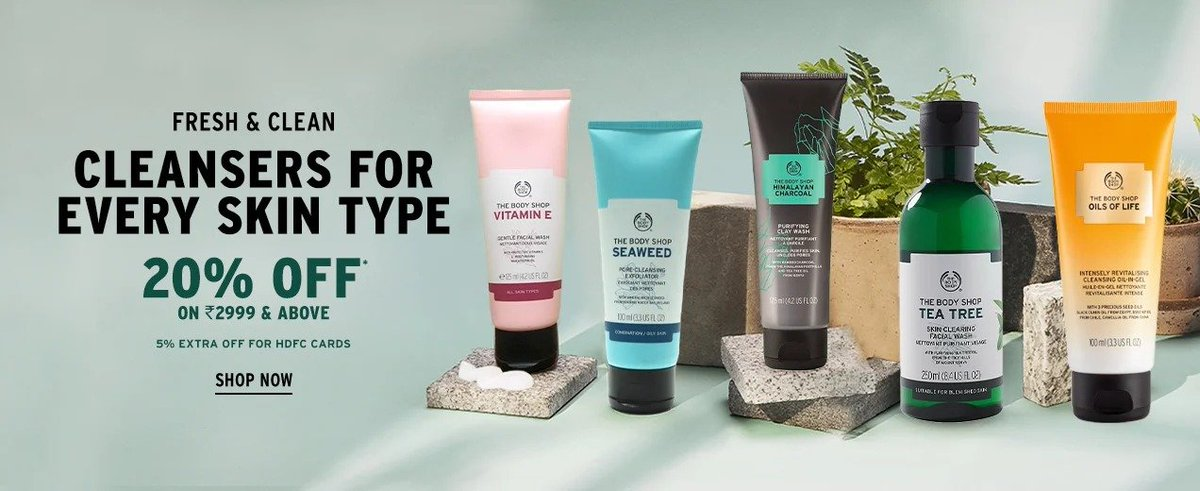 Get Flat Rs. 1,000/- Off on purchase of Rs. 3,500/- on #makeup & #skincare products at #TheBodyShop. Click to Redeem to avail this #deal. Hurry!! Valid till 31st August 2020  #ShopNow :   #thebodyshopathome #thebodyshopindia #makeupkit #makeuptime #Cleanser