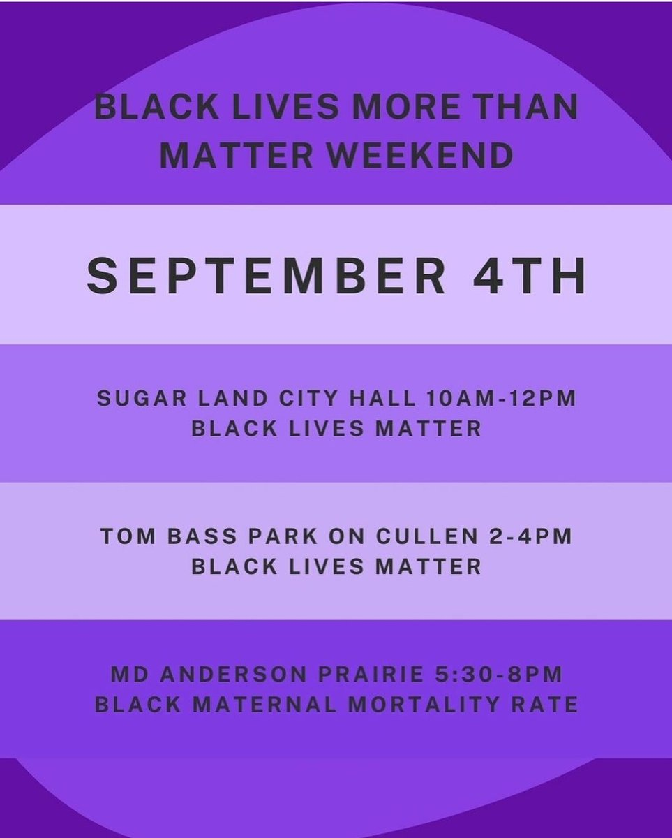 We will not let up until it is understood that BLACK LIVES MORE THAN MATTER! Join us at any of these events being held over Labor Day Weekend to show your solidarity and network with folks working on the ground. We're still looking for co-hosts, so RT and DM us if interested! https://t.co/OapFwUnui0