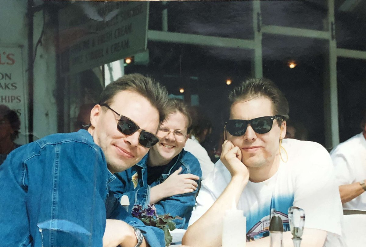 #tbt 1994 @petetong @markgoodier and me in Brighton having fish and chips ahead of our shows in Zap Club with the likes of @the_prodigy and DJ #Sasha and @Nedsatomictweet #essentialselection #eveningsession