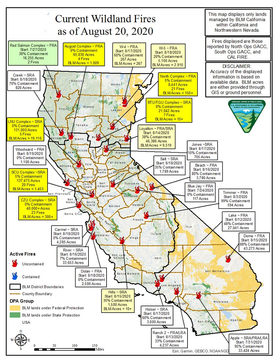 Bureau Of Land Management California On Twitter Today S Fire Map Aug 20 Which Displays Lands Managed By Blm California Fewer Fires Are Shown Due To Several Being Absorbed Or Merging With Other