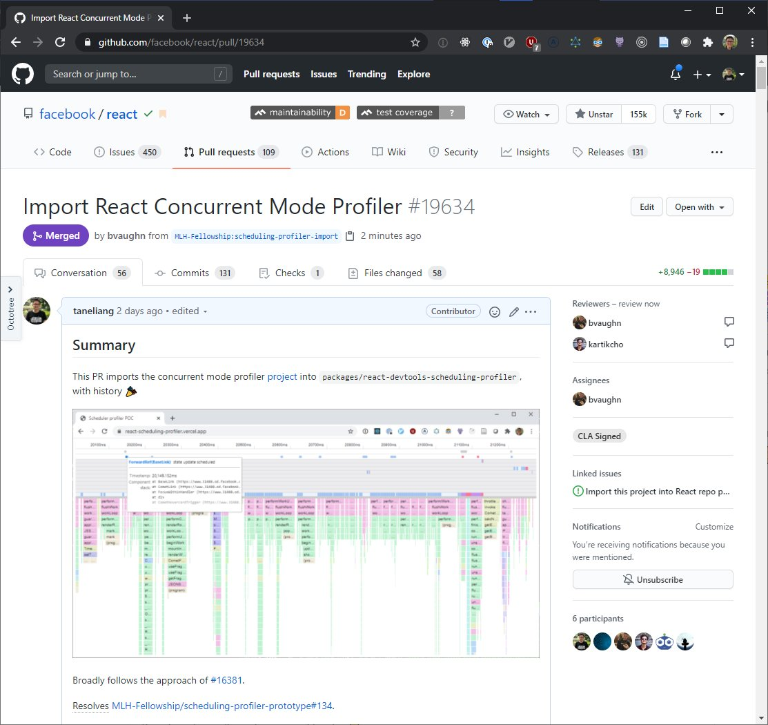 It's 2am but I can't sleep.  Our React Concurrent Mode Profiler is now officially a part of React! 🥳 Thanks @brian_d_vaughn and @jevakallio for this amazing end to the #MLHFellowship!  Engineers at FB are already using it to fix perf issues. Check it out! https://t.co/I86D5V9lZh https://t.co/77q0CONY7X