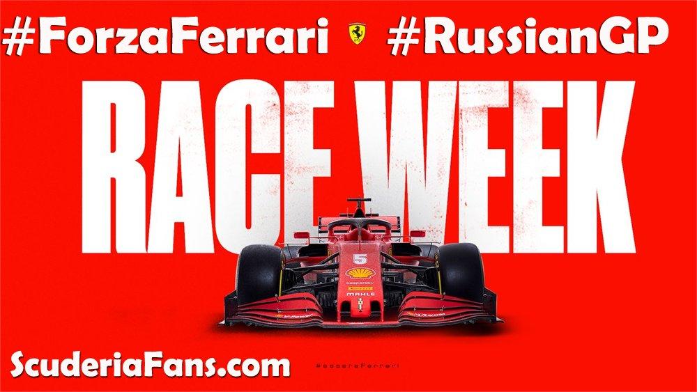 Back on track this week! 🏎🏎👊🙏  ➡️ https://t.co/uo6kBDXhq8 ⬅️  #ScuderiaFans #ForzaFerrari #essereFerrari 🔴 #F1 #RussianGP 🇷🇺 #Seb5 #Charles16 https://t.co/c97r1oK5uV