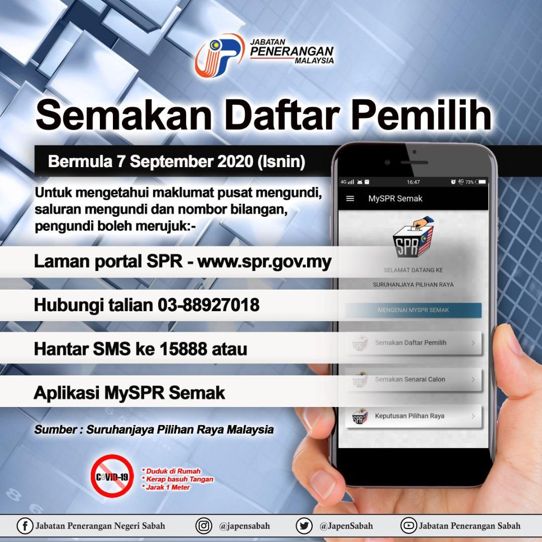 Jabatan Penerangan Negeri Sabah On Twitter Semakan Daftar Pemilih Mulai Tarikh 7 September 2020 Isnin Para Pengundi Boleh Membuat Semakan Daftar Pemilih Untuk Mengetahui Maklumat Pusat Mengundi Saluran Mengundi Dan Nombor