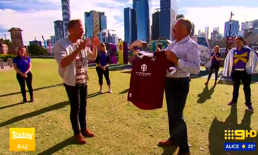 THE KING bestows sacred jersey to 'honorary Queenslander' on @TheTodayShow. Welcome to the Mighty Maroons @mr_timdavies!