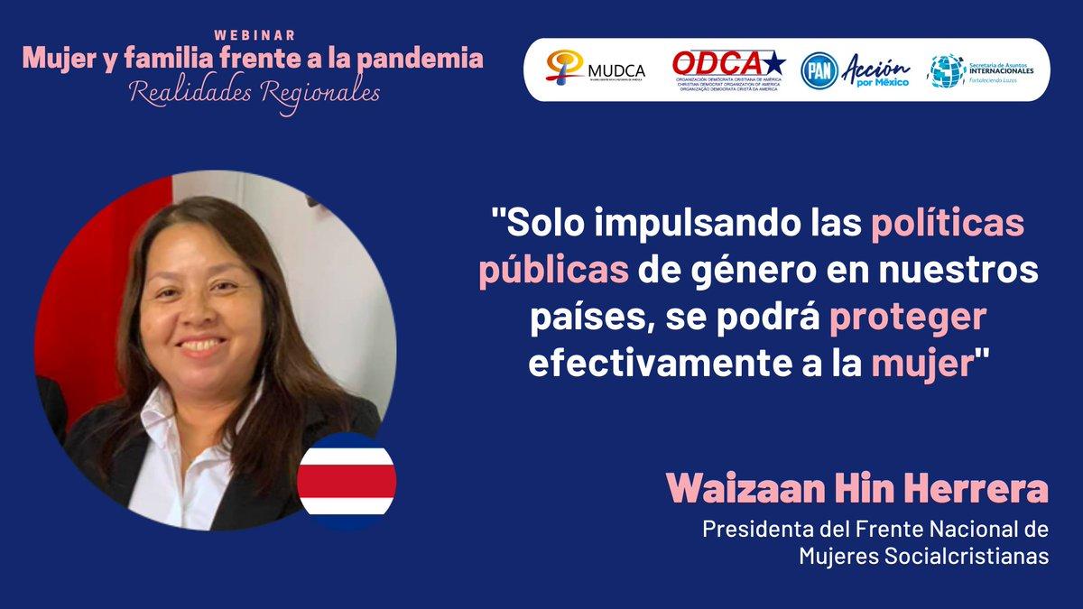 """🟣🌐 @WaizaanHin, Presidenta del Frente Nacional de Mujeres Socialcristianas, participa en el webinar """"Mujer y familia frente a la pandemia"""", organizado por @AccionNacional y @ODCA.  🔴 Síguelo #EnVivo: https://t.co/6A37gVTKV0  #WomenInPolitics 🚺 https://t.co/v5dQ9fAh8t"""