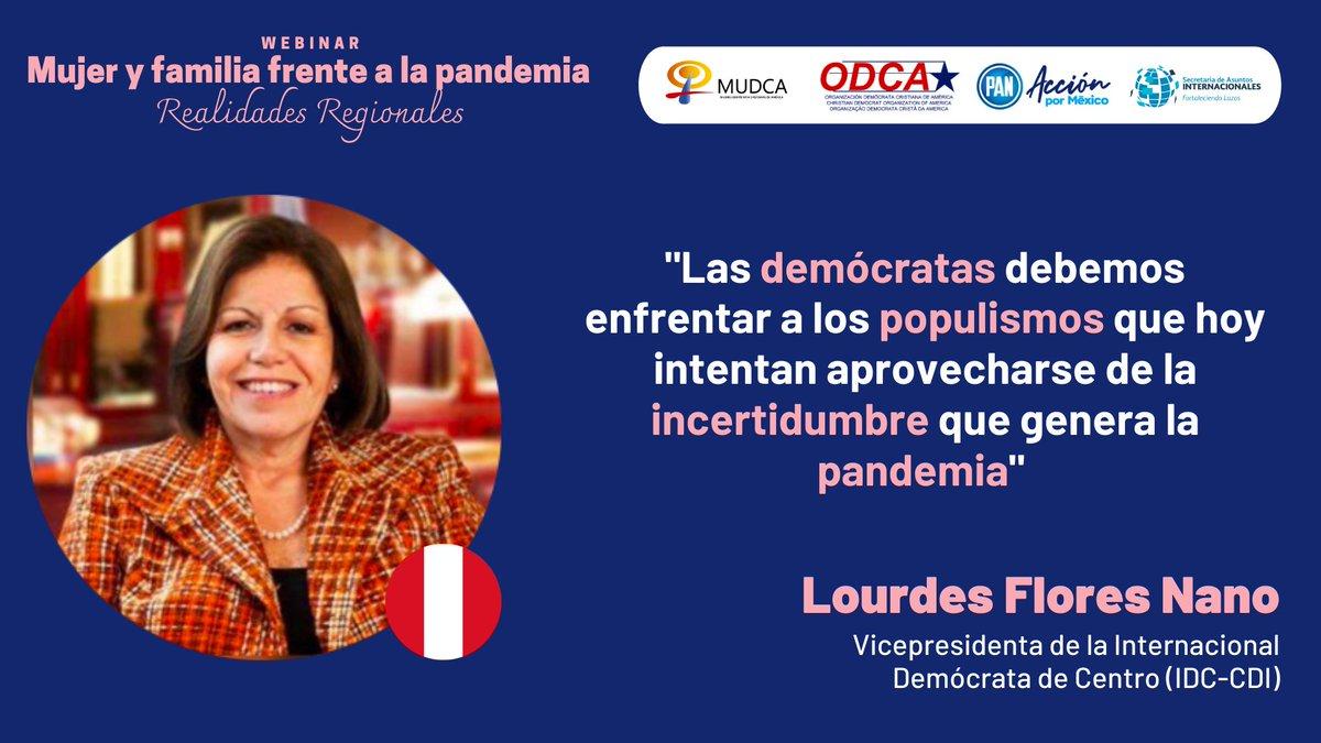 """🟣🌐 @LourdesFloresN, Vicepresidenta de la @idc_cdi, participa en el webinar """"Mujer y familia frente a la pandemia"""", organizado por @AccionNacional y @ODCA.  🔴 Síguelo #EnVivo: https://t.co/6A37gVTKV0  #WomenInPolitics 🚺 https://t.co/xGUWAhONBh"""