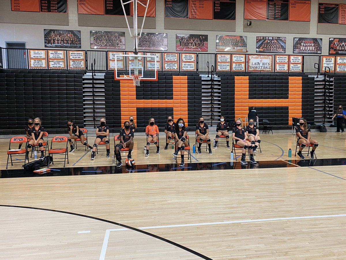 The bench looks a little different this year but we're not complaining!! #thankful #hooverpride @Buc_Volleyball